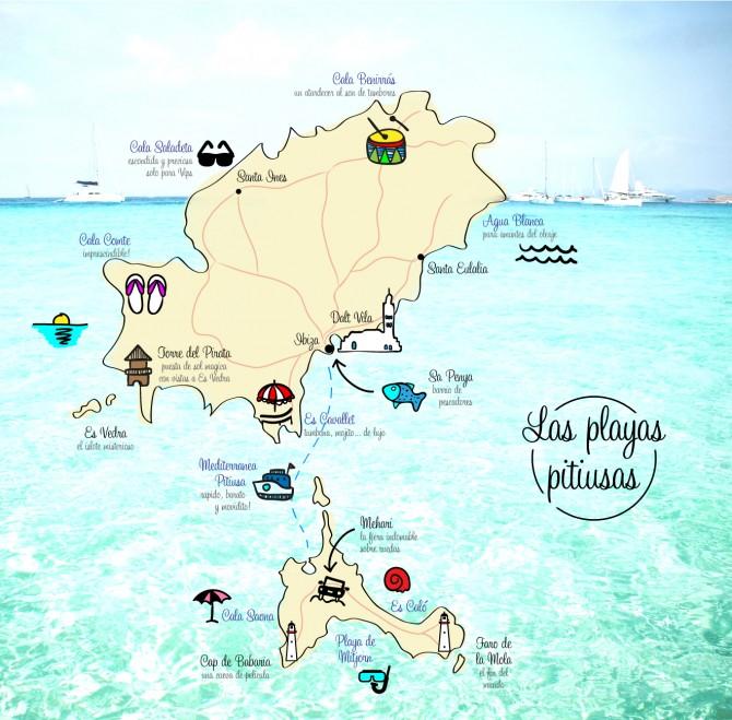 Plano de las playas de Ibiza y Formentera