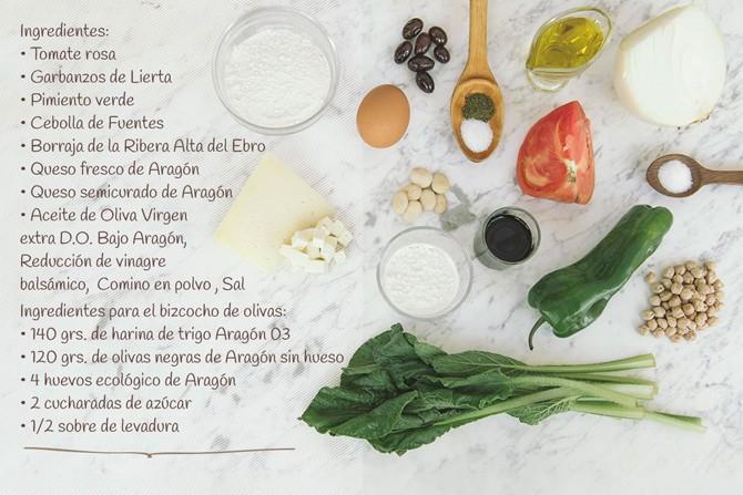 Ingredientes para Dados de tomate con salsa de queso