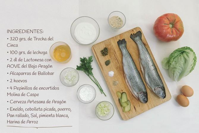 Ingredientes para la HAMBURGUESA SE TRUCHA DEL CINCA CON ALCAPARRAS DE BALLOBAR