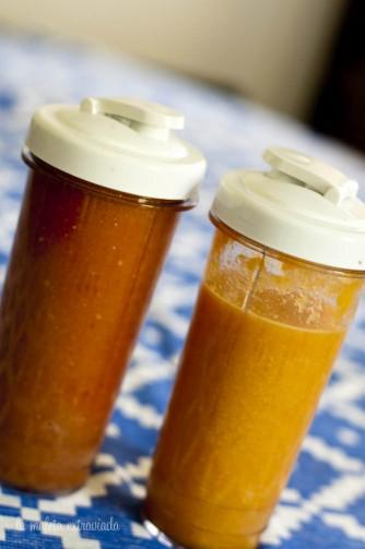 Smoothie de granada, zanahoria, manzana y pepino, y smoothie de apio, zanahoria y piña.