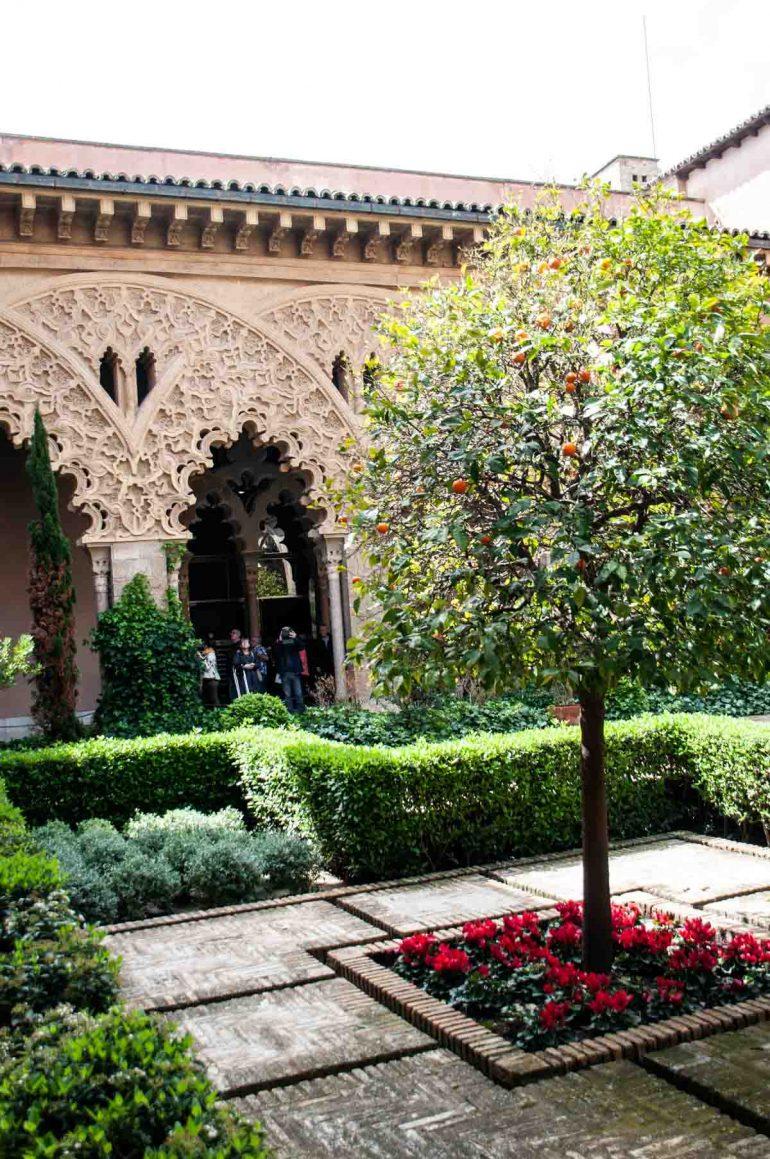 Naranjos del jardin interior del Palacio de la Aljaferia de Zaragoza