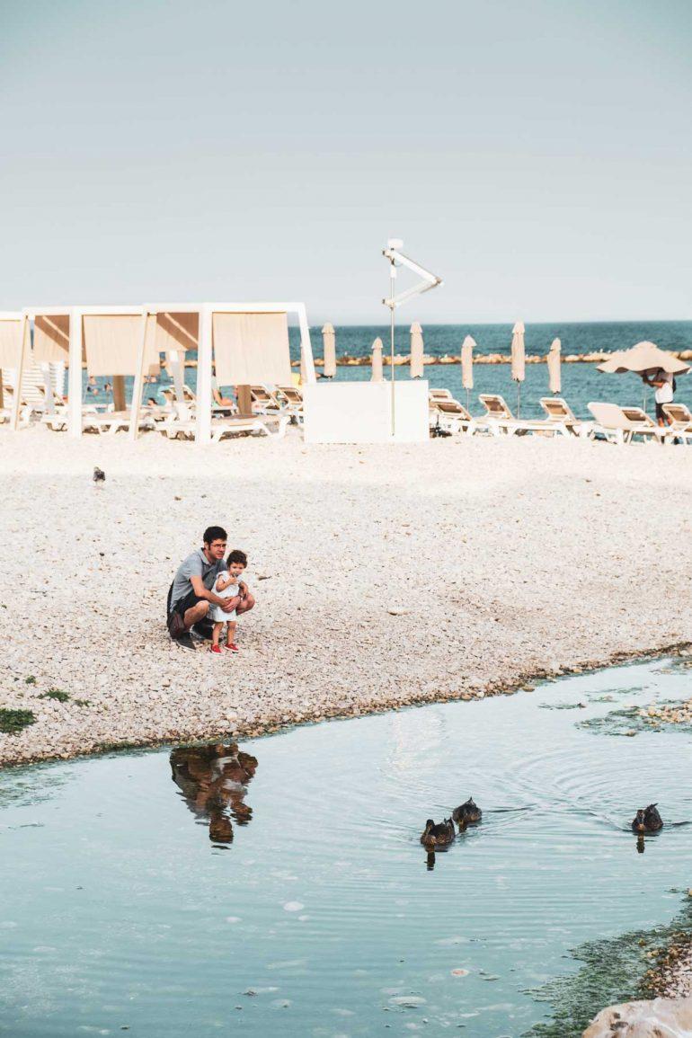 Padre e hija mirando los patos en la playa de Altea